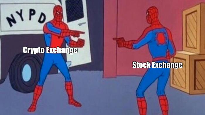 Crypto and stock exchange meme