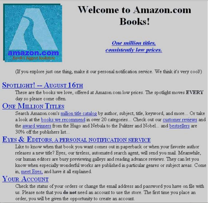 Early Amazon home page