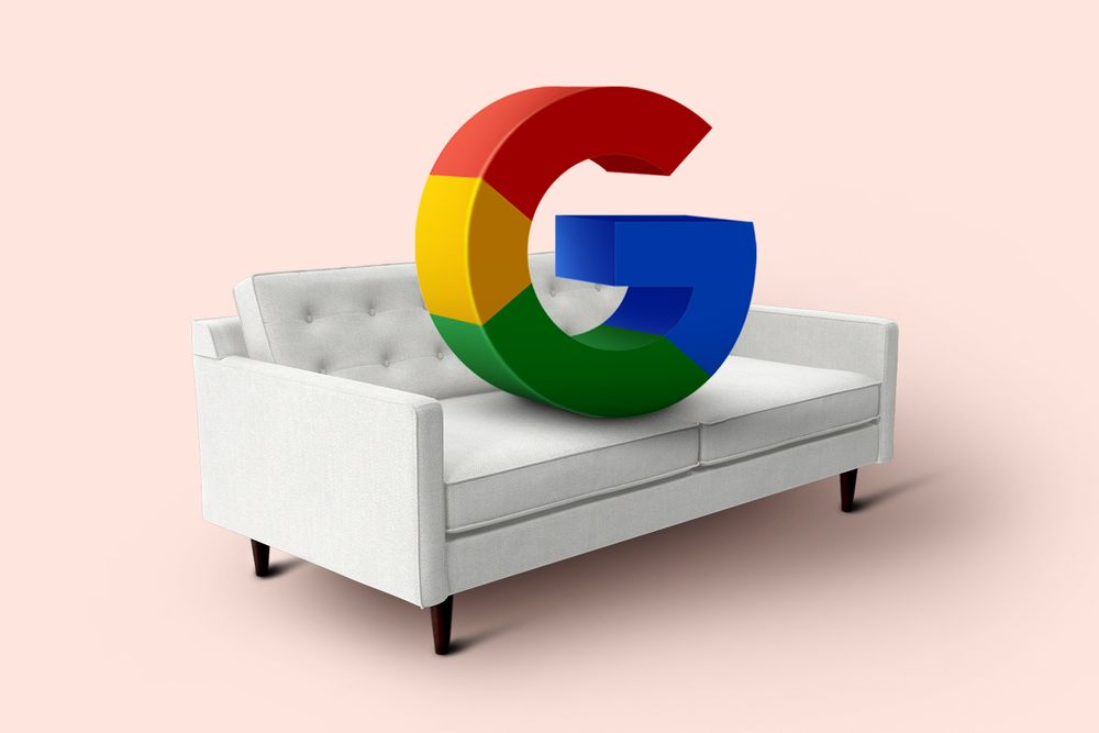 Google logo on a couch