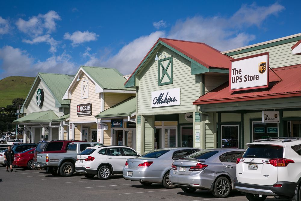 WAIMEA, HI - DECEMBER 14:  A strip mall, part of the Parker Ranch Shoppi...