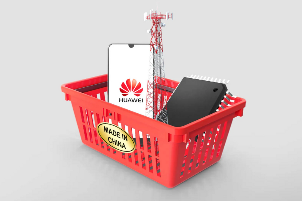 """Huawei phone, wireless communications tower, and semiconductor in a basket with """"made in China"""" label"""