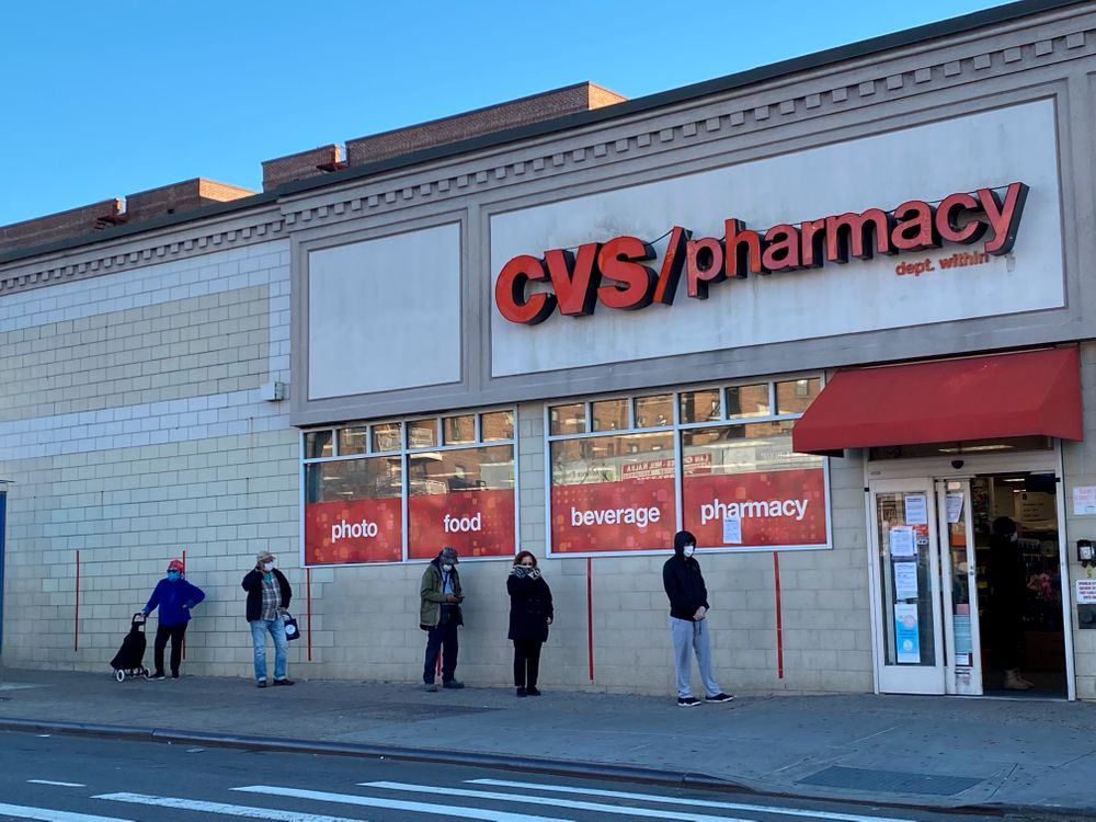 Social Distancing line outside CVS Pharmacy, Queens, New York. (Photo by...