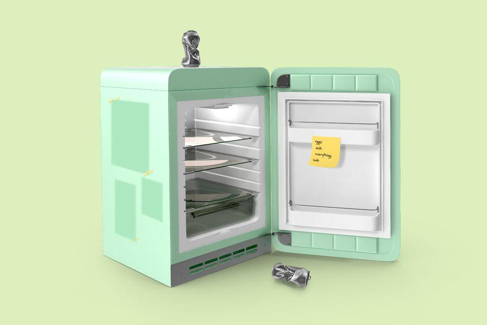 Abandoned college mini fridge