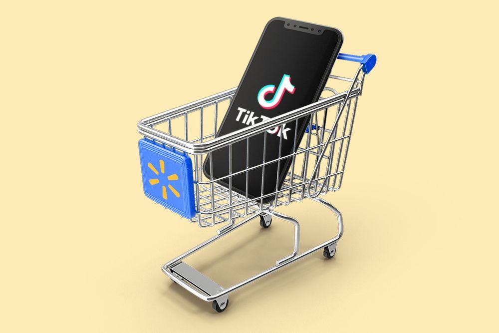 Walmart TikTok deal represented by a TikTok phone in a Walmart cart