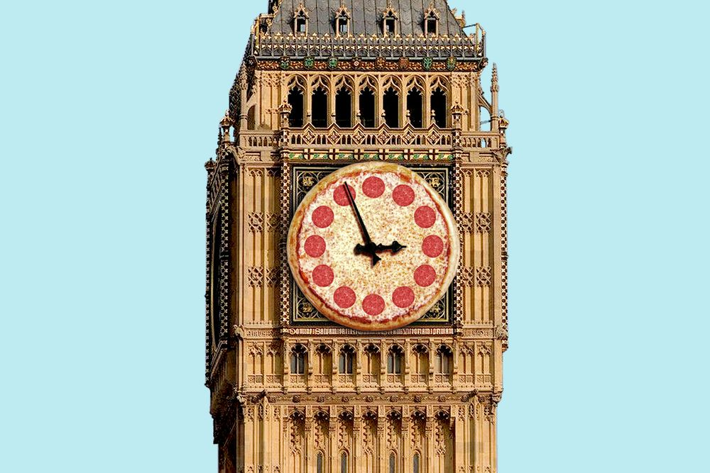 Big Ben made out of pizza
