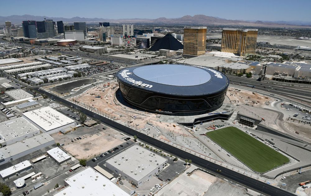 Aerial shot of Allegiant Stadium in Las Vegas