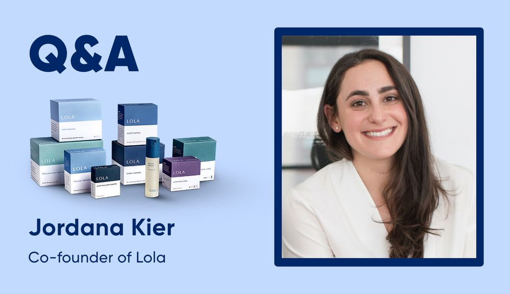 Jordana Kier co-founder at Lola on a purple background with Lola products