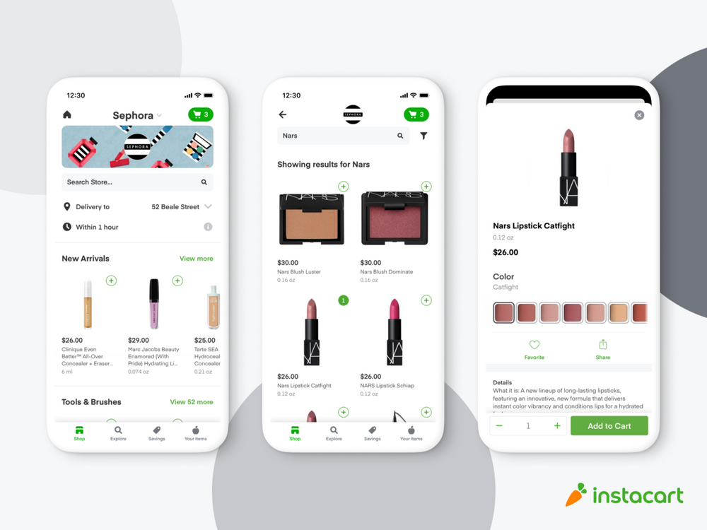 three phones displaying Sephora delivery items on Instacart