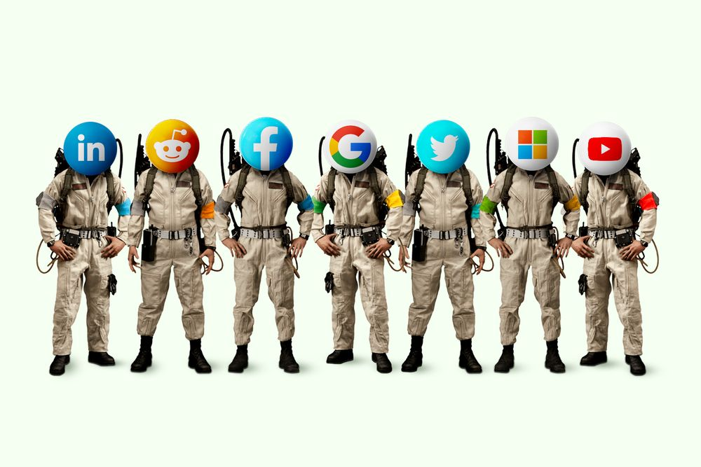 LinkedIn, Reddit, Facebook, Google, Twitter, Microsoft, YouTube coronavirus misinformation rapid response team wearing ghostbusters outfits