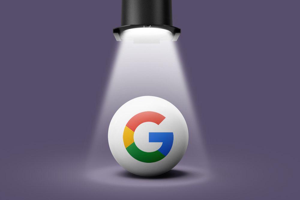 Google logo in a spotlight