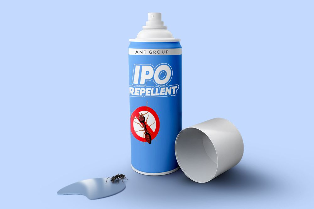 "An ant killer spray bottle that reads ""IPO repellant"""