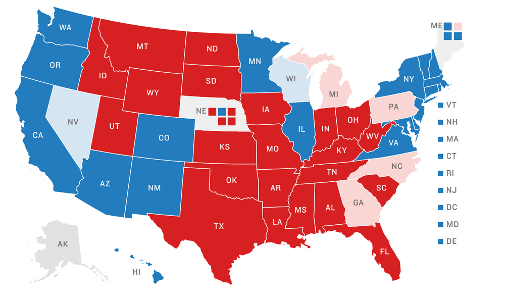 Map of electoral college