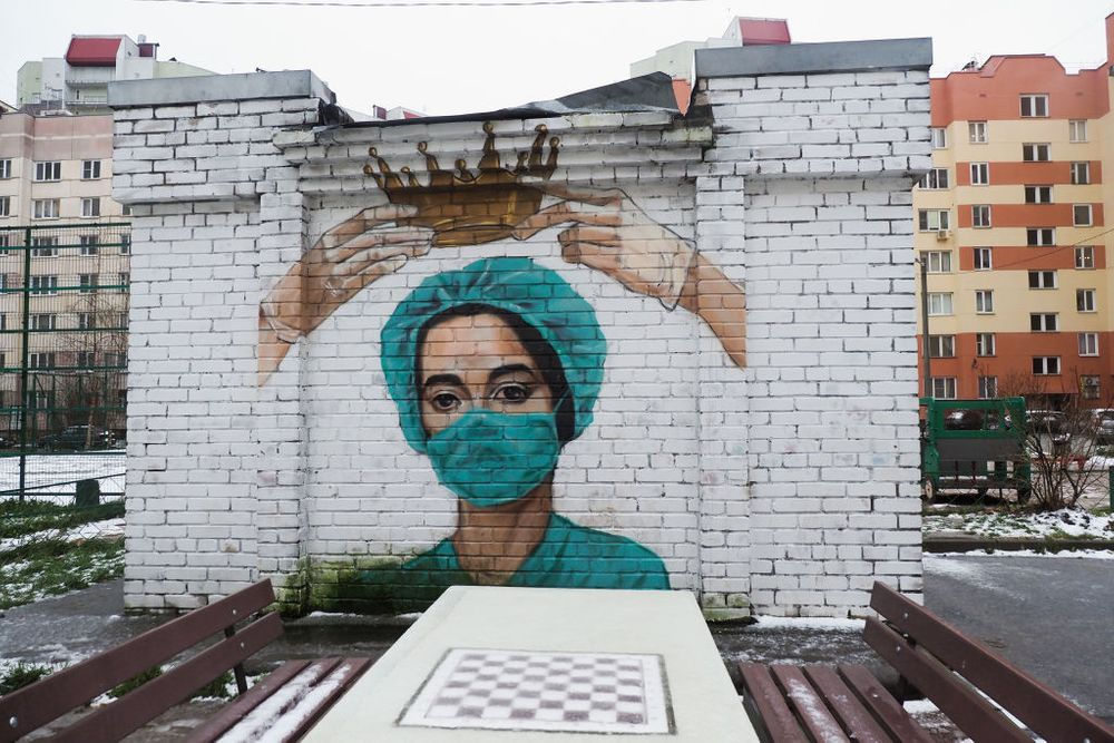 mural of a doctor with PPE