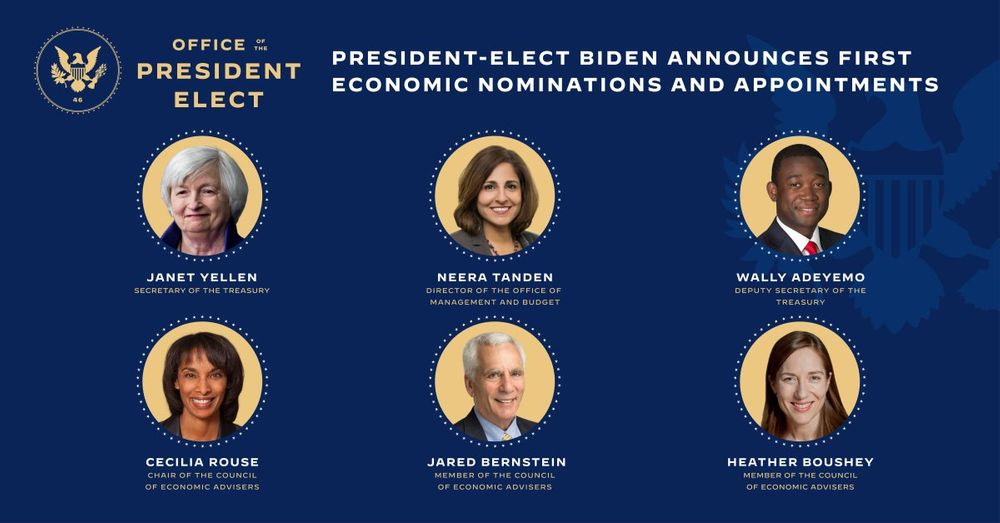 Headshots of President-Elect Biden's economic nominations and appointments. In top row, from left to right, are Janet Yellen, Neera Tanden, and Wally Adeyemo. In bottom row are Cecilia Rouse, Jared Bernstein, and Heather Boushey.