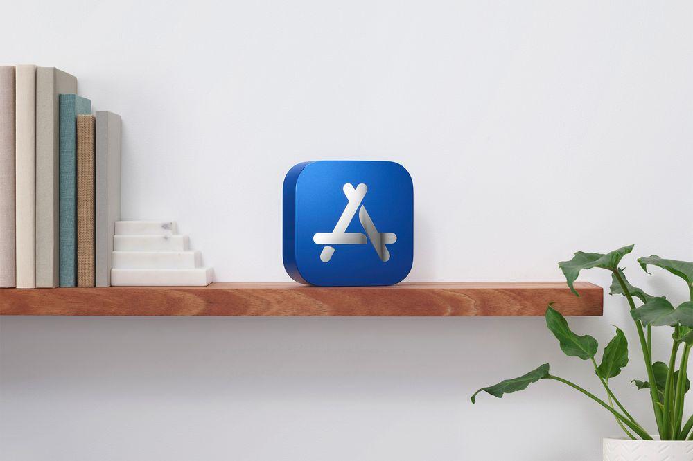 Apple app store award sitting on a shelf