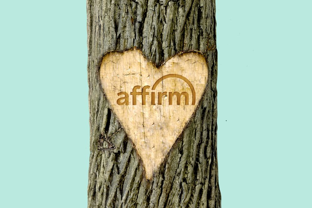 Affirm carved into a tree
