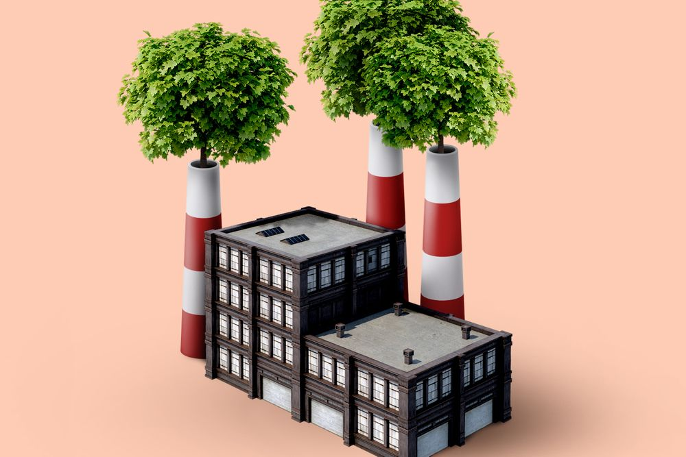 An illustration of a generic-looking brick factory; trees are growing out of the top of its three smokestacks