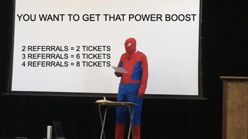 Spiderman going over Morning Brew's referral program