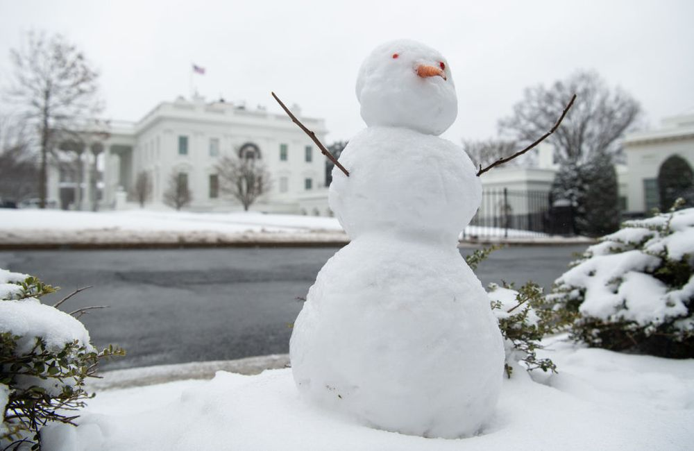 A snowman is seen on the North Lawn of the White House in Washington, DC, February 1, 2021.