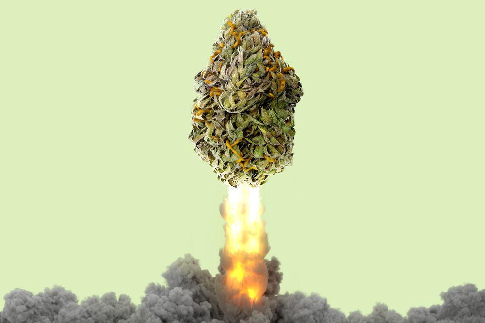 A marijuana nugget shaped like a rocket taking off