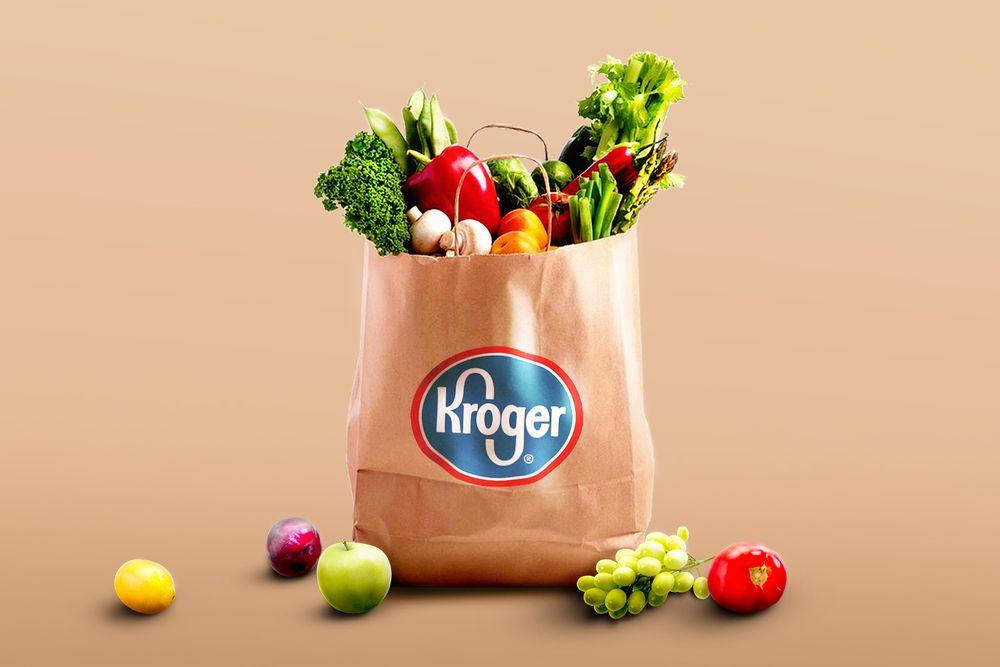 A Kroger bag filled with groceries
