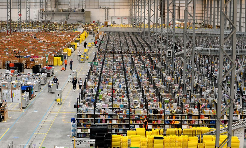 A picture shows the Fulfilment Centre for online retail giant Amazon in ...